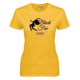 Ladies Gold T Shirt-Black Fox Dad