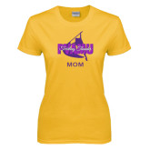 Ladies Gold T Shirt-Twirling Thunder Mom