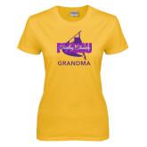 Ladies Gold T Shirt-Twirling Thunder Grandma