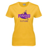 Ladies Gold T Shirt-Future Twirling Thunder