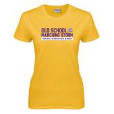 Ladies Gold T Shirt-Old School w/ Cloud