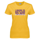 Ladies Gold T Shirt-The Storm To NYC Stacked