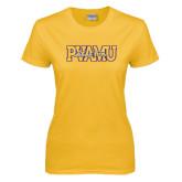 Ladies Gold T Shirt-PVAMU Black Fox Overlap