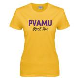 Ladies Gold T Shirt-PVAMU Black Fox Script
