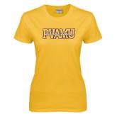 Ladies Gold T Shirt-PVAMU Twirling Thunder Overlap
