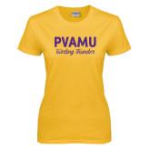 Ladies Gold T Shirt-PVAMU Twirling Thunder Script