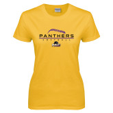 Ladies Gold T Shirt-Softball Design