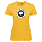 Ladies Gold T Shirt-Marching Storm Cloud Circle - Fan
