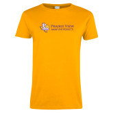 Ladies Gold T Shirt-PVAM Texas Flat