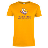Ladies Gold T Shirt-PVAM Texas Stacked