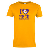 Ladies Gold T Shirt-I Heart My HBCU