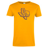 Ladies Gold T Shirt-PVAM Texas Purple Glitter