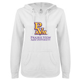 ENZA Ladies White V Notch Raw Edge Fleece Hoodie-PVAM Stacked