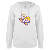 ENZA Ladies White V Notch Raw Edge Fleece Hoodie-PVAM Texas