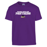 Youth Purple T Shirt-Collegiate Stacked Prairie View A&M Panthers