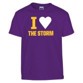 Youth Purple T Shirt-I Heart The Storm