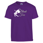 Youth Purple T Shirt-Black Fox Logo