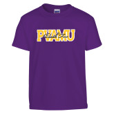 Youth Purple T Shirt-PVAMU Black Fox Overlap