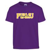Youth Purple T Shirt-PVAMU Black Fox Overlap