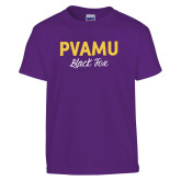 Youth Purple T Shirt-PVAMU Black Fox Script