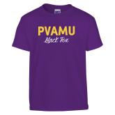 Youth Purple T Shirt-PVAMU Black Fox Script