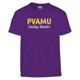 Youth Purple T Shirt-PVAMU Twirling Thunder Script