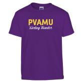 Youth Purple T Shirt-PVAMU Twirling Thunder Script