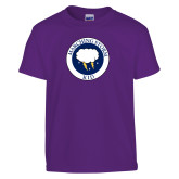 Youth Purple T Shirt-Marching Storm Cloud Circle - Kid