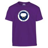 Youth Purple T Shirt-Marching Storm Cloud Circle - Kid