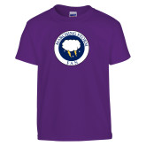 Youth Purple T Shirt-Marching Storm Cloud Circle - Fan