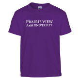 Youth Purple T Shirt-Word Mark Stacked