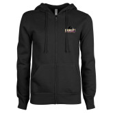 ENZA Ladies Black Fleece Full Zip Hoodie-Official Logo