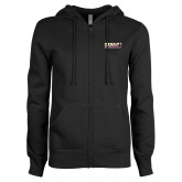 ENZA Ladies Black Fleece Full Zip Hoodie-PVAMU