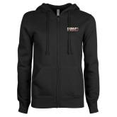 ENZA Ladies Black Fleece Full Zip Hoodie-PVAMU
