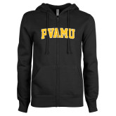 ENZA Ladies Black Fleece Full Zip Hoodie-Arched PVAMU