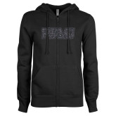 ENZA Ladies Black Fleece Full Zip Hoodie-PVAMU Graphite Glitter