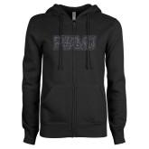 ENZA Ladies Black Fleece Full Zip Hoodie-PVAMU Graphite Glitter