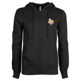 ENZA Ladies Black Fleece Full Zip Hoodie-PVAM Texas