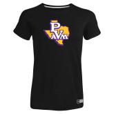 Ladies Russell Black Essential T Shirt-PVAM Texas