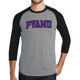 Grey/Black Tri Blend Baseball Raglan-Arched PVAMU