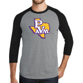 Grey/Black Tri Blend Baseball Raglan-PVAM Texas
