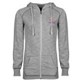 ENZA Ladies Grey/Black Marled Full Zip Hoodie-PVAM Stacked