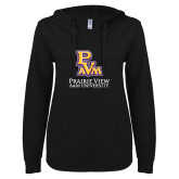 ENZA Ladies Black V Notch Raw Edge Fleece Hoodie-PVAM Stacked