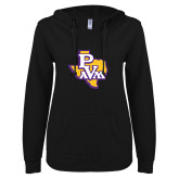 ENZA Ladies Black V Notch Raw Edge Fleece Hoodie-PVAM Texas