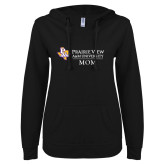 ENZA Ladies Black V Notch Raw Edge Fleece Hoodie-Mom