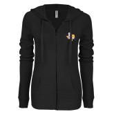 ENZA Ladies Black Light Weight Fleece Full Zip Hoodie-PVAM Texas