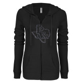 ENZA Ladies Black Light Weight Fleece Full Zip Hoodie-PVAM Texas Graphite Soft Glitter
