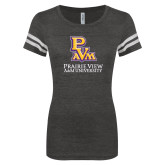 ENZA Ladies Black/White Vintage Football Tee-PVAM Stacked