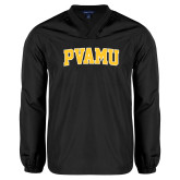 V Neck Black Raglan Windshirt-Arched PVAMU