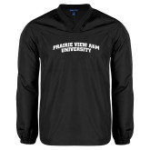 V Neck Black Raglan Windshirt-Arched Prairie View A&M